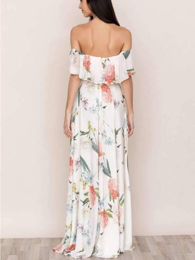 Fashion Print One shoulder Short sleeve Maxi Dresses