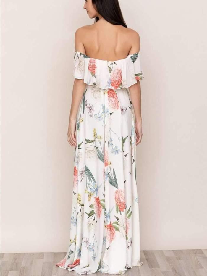 Fashion Print One shoulder Short sleeve Maxi Dresses