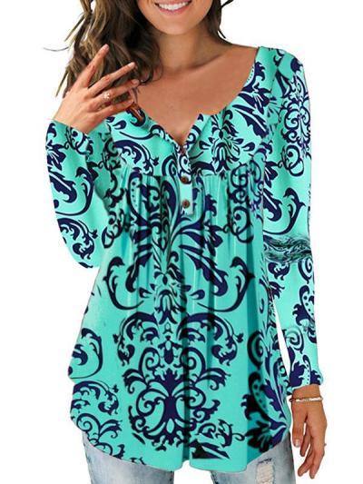 Round neck buttn women long sleeve T-shirts
