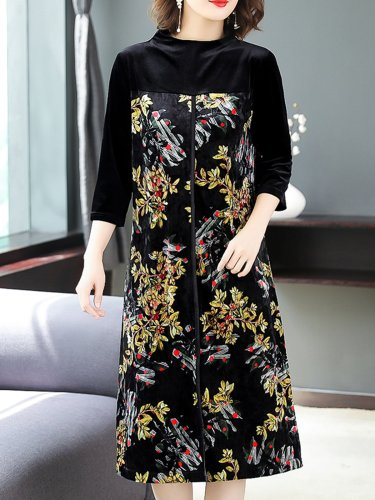 Elegant Floral Paneled Slit Midi Dress