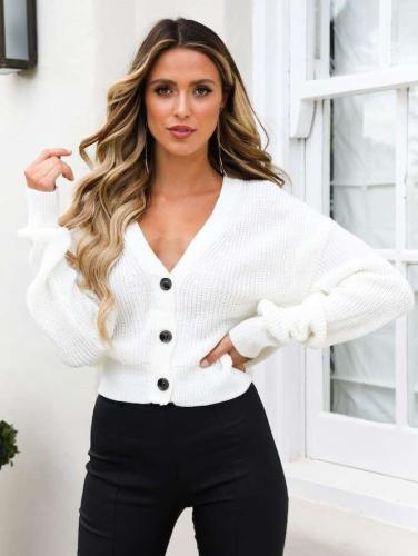 Casual Loose V neck Knit Long sleeve Cardigan Sweaters
