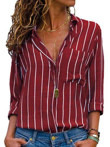 Chic Stripe Printed Woman Long Sleeve Spring Blouses