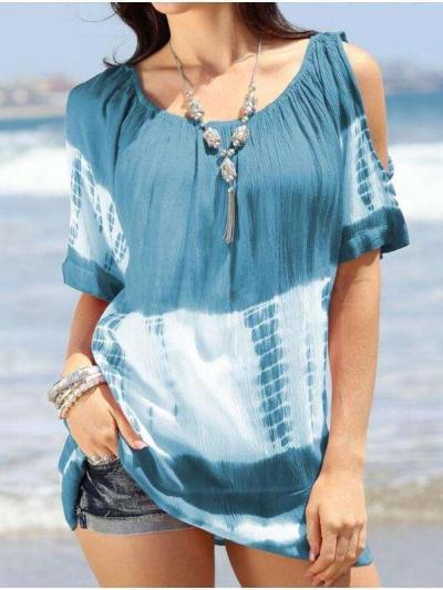 Casual Round neck Off shoulder Print Short sleeve T-Shirts
