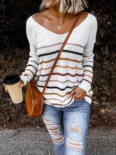 Women v neck fashion long sleeve stripe sweaters