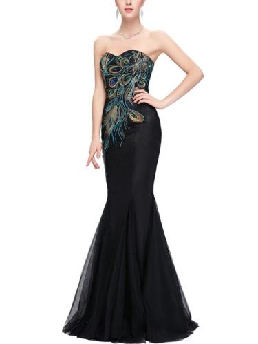 Embroidery Contrast V-Neck Sleeveless Mermaid Long Evening Dresses