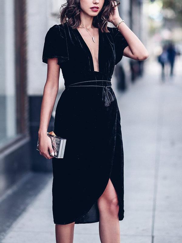 Slim Fashion women v neck short sleeve shift dresses