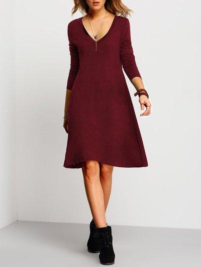 Deep V-Neck Plain Shift Dress