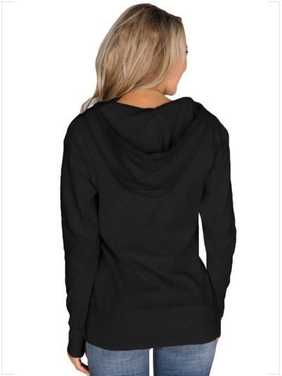 New Women Long sleeve Black Hoodies & Sweatshirts