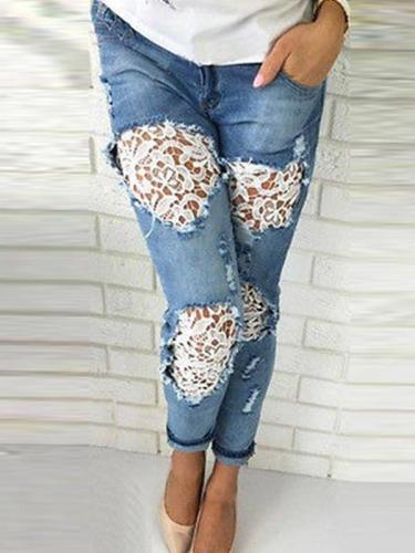 Fashion Lace patchwork ripped jeans long Pants