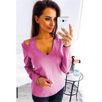 Fashion Off shoulder V neck Long sleeve T-Shirts