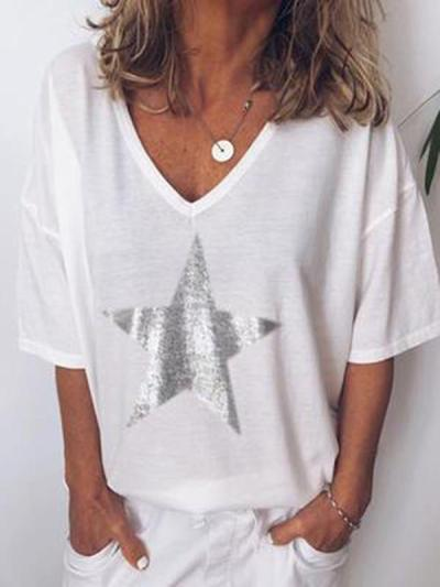 Women's  v-neck  short sleeves Casual Loose T - shirts