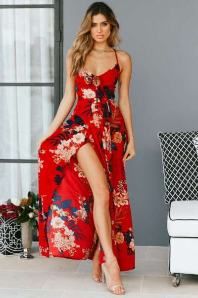Fashion Print V neck Vest Backless Maxi Dresses