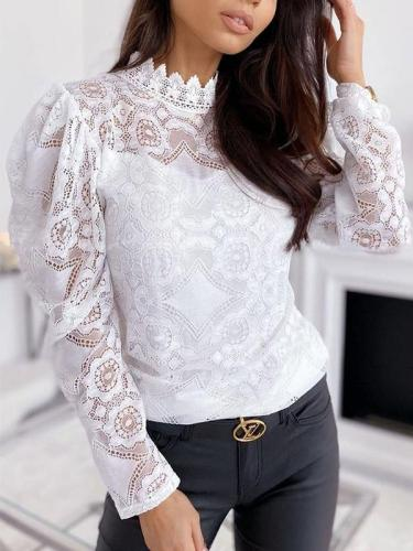 Fashionable Women High Neck Long sleeve Lace Blouses