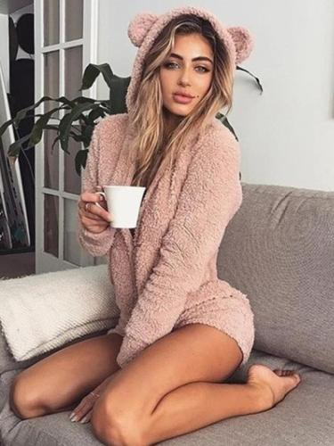 Cute Hooded long-sleeve plush jumpsuits