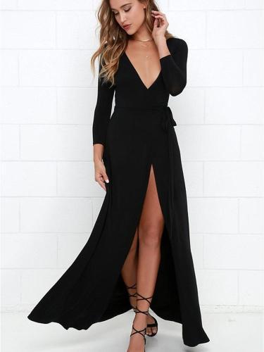 Sexy V neck Slit Long sleeve Maxi Dresses