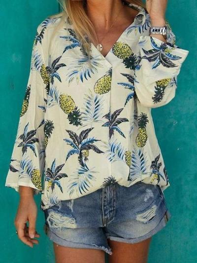 Casual Print V neck Long sleeve Blouses