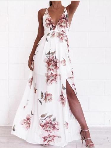 Fashion V neck Vest Backless Maxi Dresses