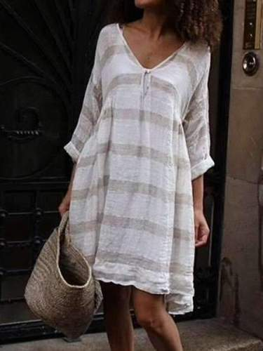 Casual Stripe V neck Shift Dresses