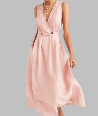 Casual Loose Pure V neck Sleeveless Skater Maxi Dresses
