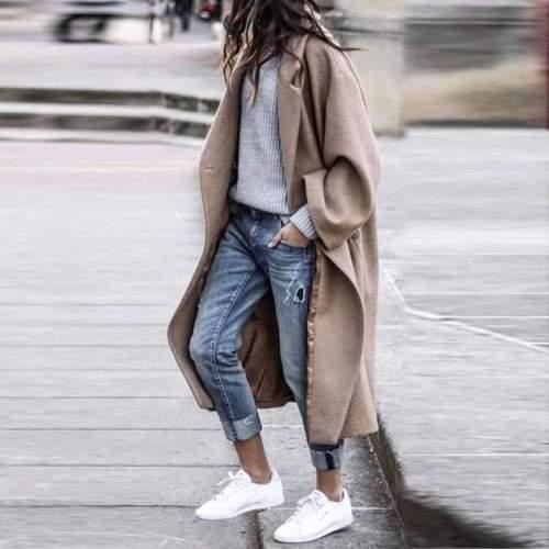 Fashion Pure Long sleeve Lapel Coats
