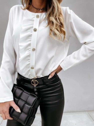 Fashion Pure Round neck Long sleeve Fastener Falbala Blouses