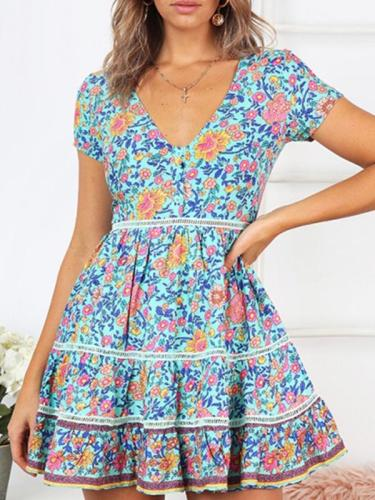 Sexy v-neck floral beach dress vacation dresses