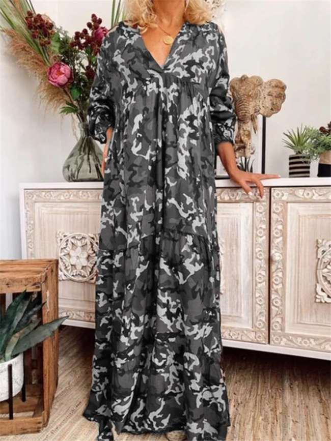 Fashion Camouflage Print V neck Long sleeve Maxi Dresses