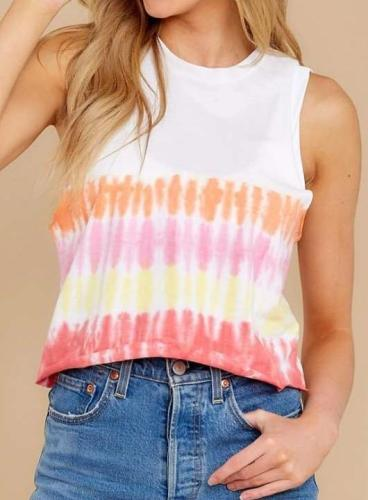 Fashion Round neck Print Sleeveless T-Shirts