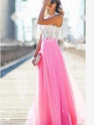 New Lace Chiffon Gored Maxi Dresses