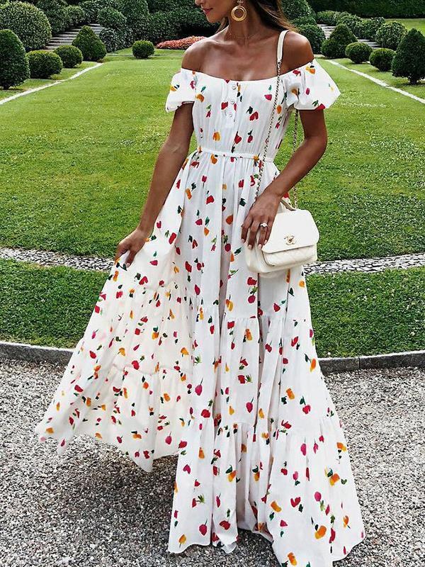 Sexy strapless fashion printed big hem maxi dresses