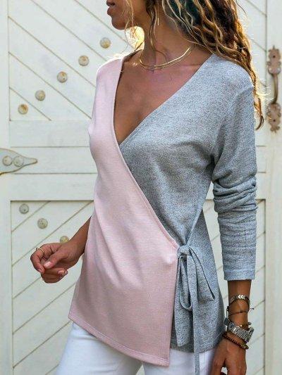 Fashion Cross V neck Knit Long sleeve Gored Lacing T-Shirts