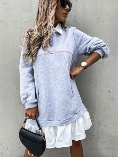 Fashion Gored Lapel Long sleeve Sweatshirts Shift Dresses
