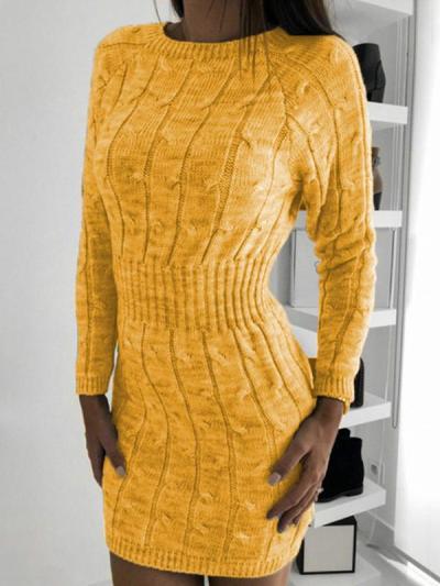 Round neck twist long sleeve sweater bodycon dresses
