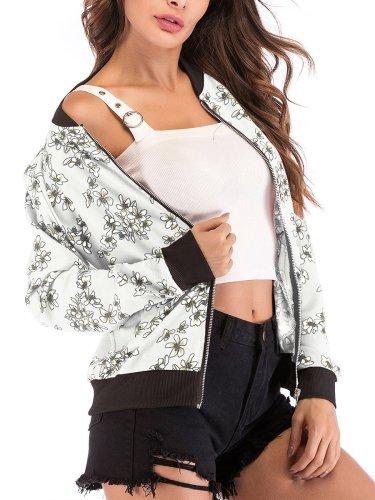 Fashion Woman Autumn Flower Printed Jackets