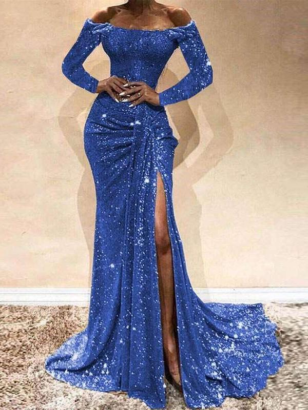 Sexy Off shouldeer Long sleeve Pure Evening Dresses