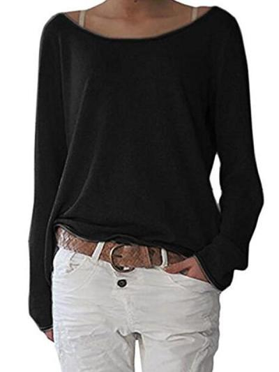 Long sleeve plain loose with irregular hem round neck T-shirt