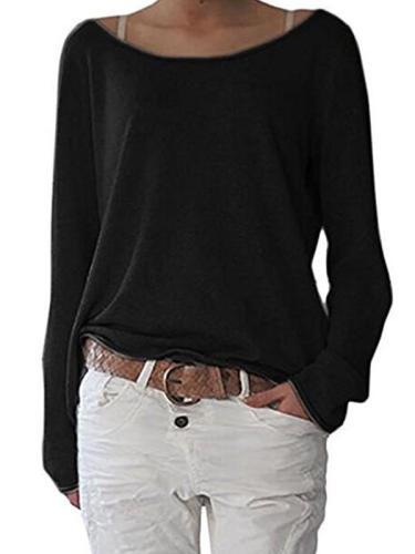 Long sleeve plain loose with irregular hem round neck T-shirt