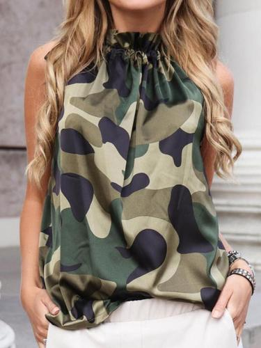 Women Printed Sleeveless Chiffon T-shirts
