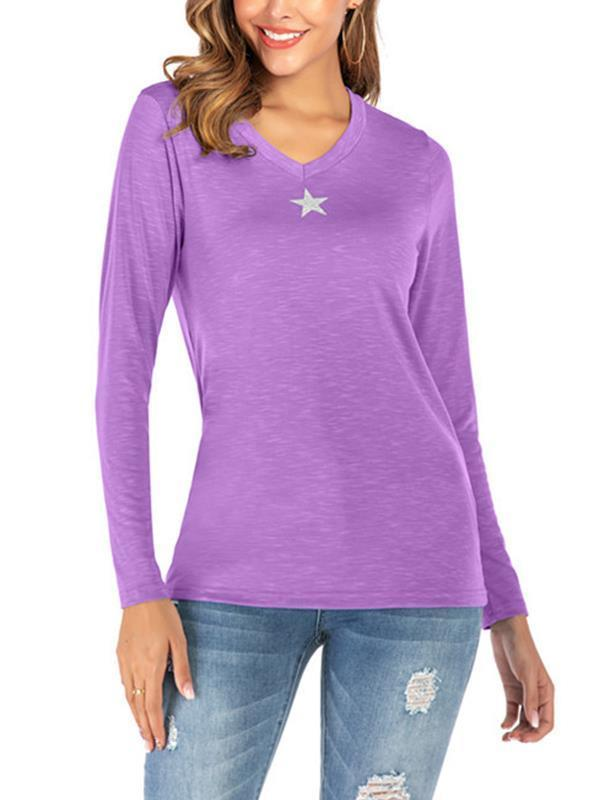 V-neck five-pointed star printed knit women long-sleeved T-shirts
