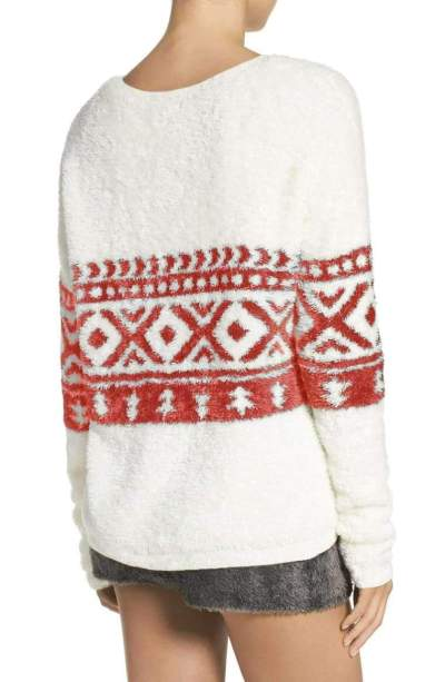 Casual Loose Print Plush V neck Long sleeve Sweaters