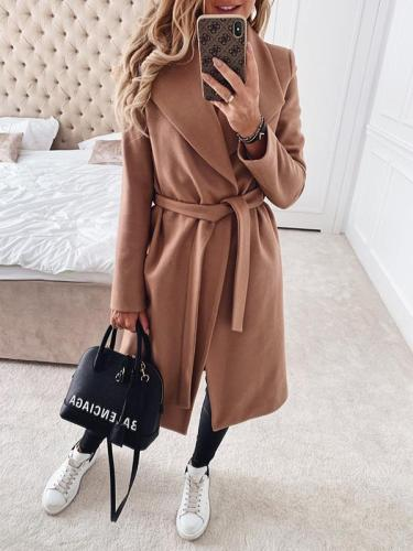 Big lapel plain long Trench coats