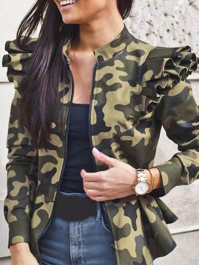 Long sleeve flounce zipper printed coat blazers