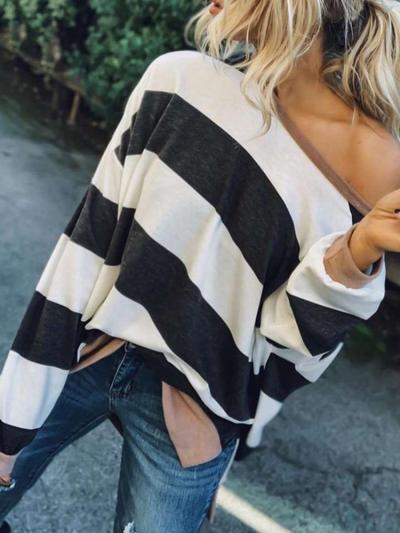 Fashion Stripe One shoulder Long sleeve T-Shirts