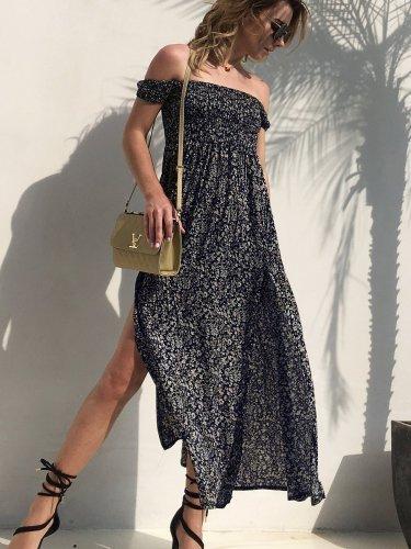 Sexy Vent Off shoulder Floral Maxi Dresses