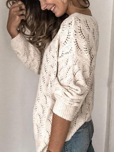 Fashion hollow out  v-neck long  sleeve cardigan sweaters