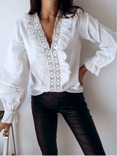 Sexy V neck Lace Long sleeve Blouses