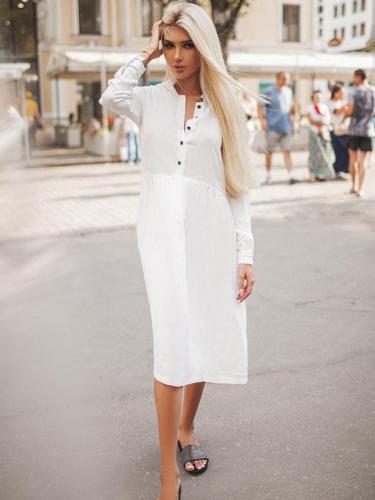 Casual Pure Long sleeve Maxi Dresses