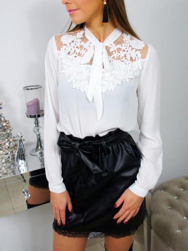 Spring Woman Long Sleeve Tie collar Blouses