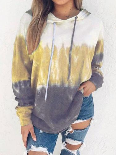 Graduated printed hoodie long sleeves Hooded