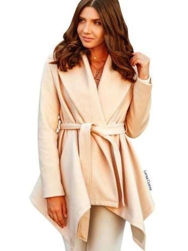 Pure Lapel Long sleeve Belt Coats